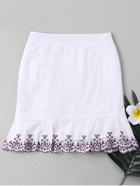 online Plant Embroidered Trim Fishtail Skirt - WHITE XL Mobile