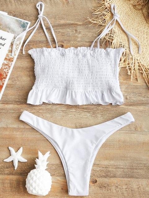 chic Self-tie Smocked High Cut Bikini Set - WHITE L Mobile