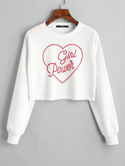 Zaful Dropped Shoulder Valentine Crop Sweatshirt