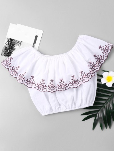 Embroidered Trim Flounce Cropped Blouse - White S