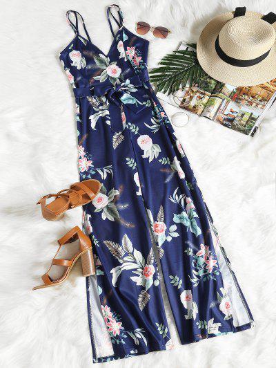 Floral Print Slit Belted Cami Jumpsuit - Purplish Blue L