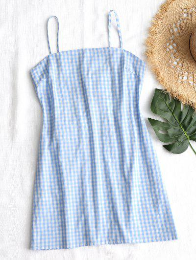 Tie Gingham Cut Out Mini Dress - Checked S
