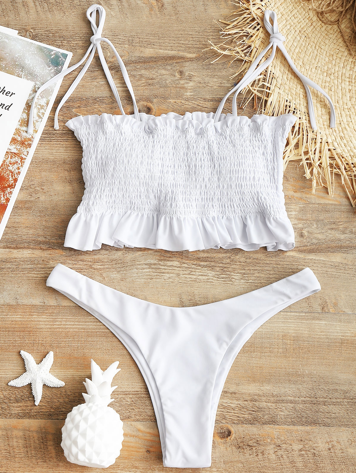 Self-tie Smocked High Cut Bikini Set фото