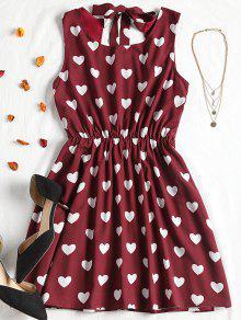 فستان مصغر طباعة القلب  - عنابي اللون M
