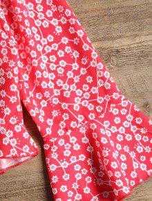 Floral Rojo Blusa Volantes Estampada S Estampado Y Con vxwX6wqR