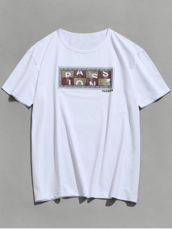 buy Short Sleeve Graphic Passion Print T-shirt - WHITE XL