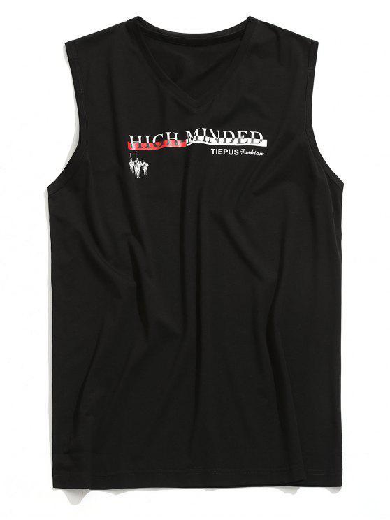 unique V Neck Graphic Sleeveless T-shirt - BLACK L