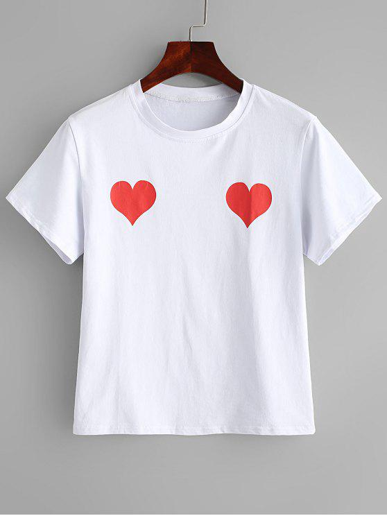 fashion Short Sleeve Heart Print Tee - WHITE M
