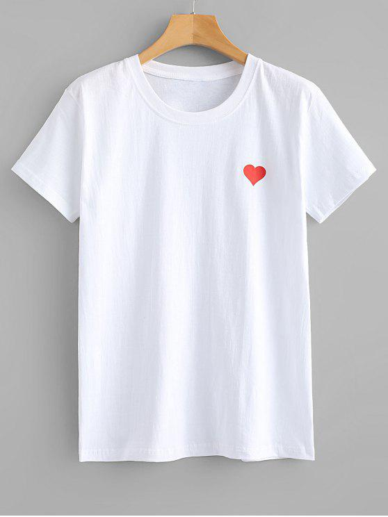 fancy Red Heart Graphic Tee - WHITE S