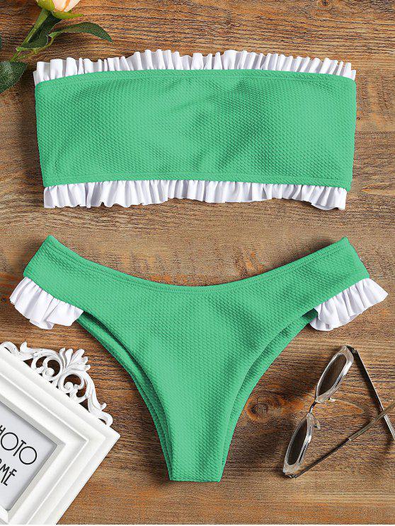 Rüschen Bandeau Bikini Set - Grün M