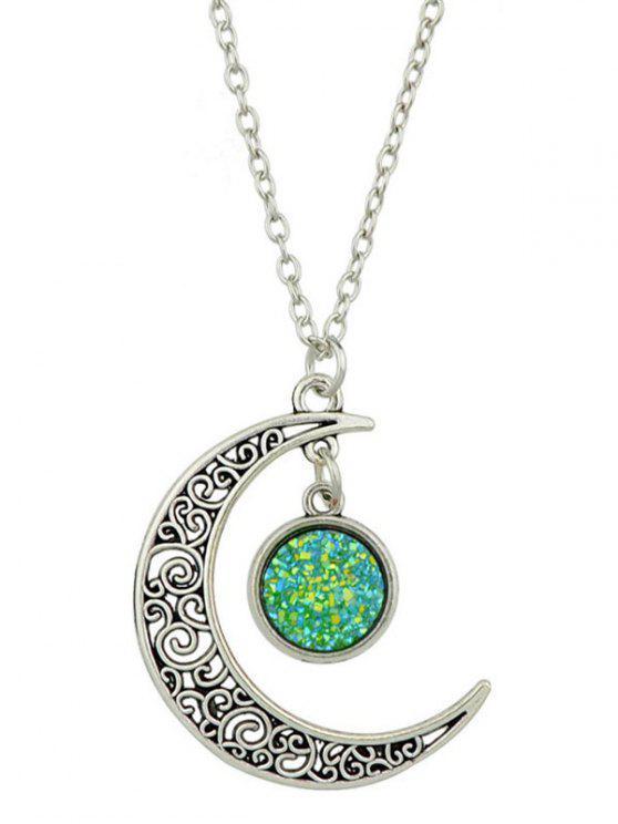 Geometrische Gebogene Mond Halskette mit Anhänger - Grün