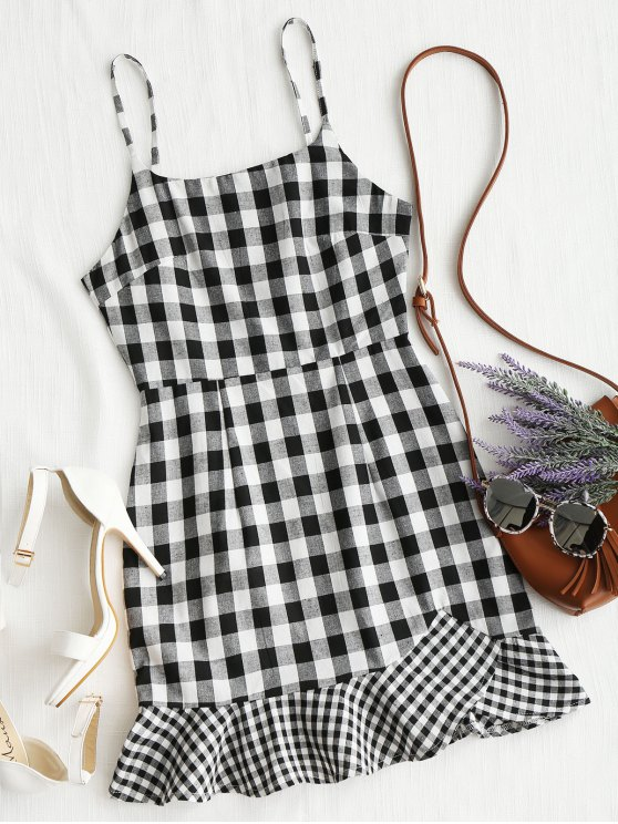 online Spaghetti Straps Plaid Ruffle Mini Dress - BLACK M