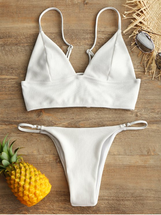 best Ribbed Lace Up Bikini Bra and V-String Bottoms - WHITE S