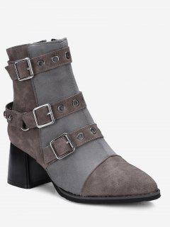 Ankle Multi Buckle Straps Chunky Boots - Gray 38