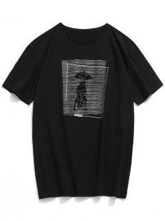 T-Shirt à Manches Courtes Avec Motif Jour De Pluie Imprimé - Noir Xl