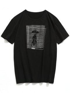 Rainy Day Print Short Sleeve T-shirt - Black L