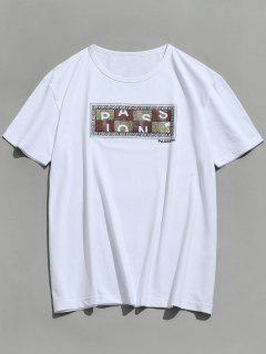 Short Sleeve Graphic Passion Print T-shirt - White L