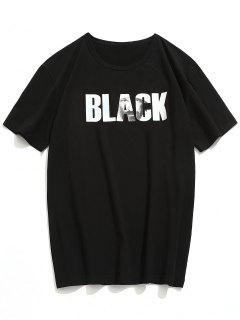 T-Shirt Lettre Imprimée  - Noir M