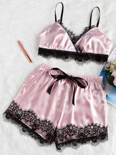 Eyelash Lace Satin Cami Shorts Pajama Set - Pink M
