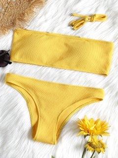 Juego De Bikini Bandeau De Textura Acanalada - Amarillo M