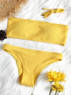 Ribbed Texture Bandeau Bikini Set - Yellow S
