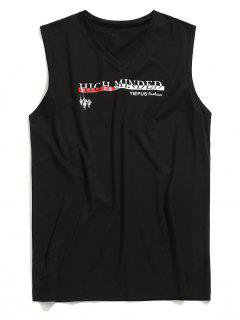 V Neck Graphic Sleeveless T-shirt - Black L