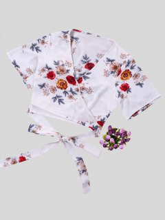 Floral Printed Crop Wrap Blouse - White M