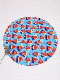 Sliced Watermelon Print Beach Throw - Blue And Red