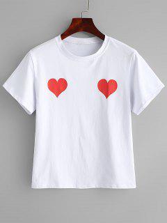 Kurzarm-Herz-Druck-T-Shirt - Weiß M