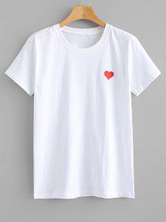 Camiseta Con Gráfico De Corazón Rojo - Blanco S