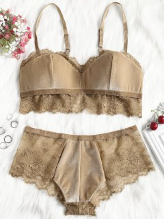 Lace Trim Velvet Balconette Bra Set - Khaki L