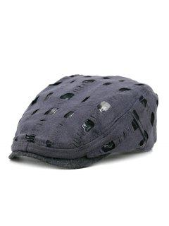 Simple Hollow Hole Pattern Newsboy Cap - Gray