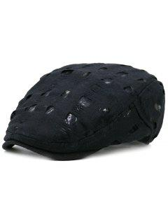 Simple Hollow Hole Pattern Newsboy Cap - Black