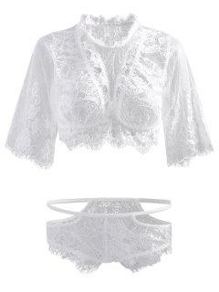 Cutout Lace Top And Briefs - White