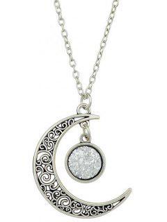 Collier Avec Pendentif Croissant De Lune Et Géométrie  - Argent