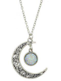 Collier Avec Pendentif Croissant De Lune Et Géométrie  - Blanc