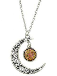 Geometric Curved Moon Pendant Necklace
