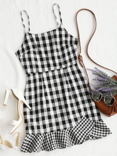 Spaghetti Straps Plaid Ruffle Mini Dress - Black M