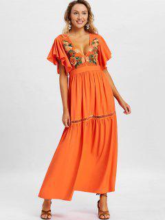 Low Cut Embroidery Maxi Dress - Orange M