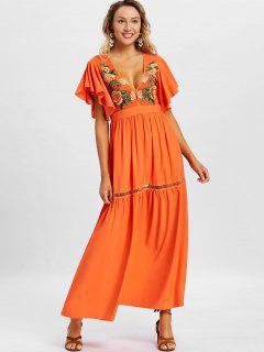 Low Cut Embroidery Maxi Dress - Orange L