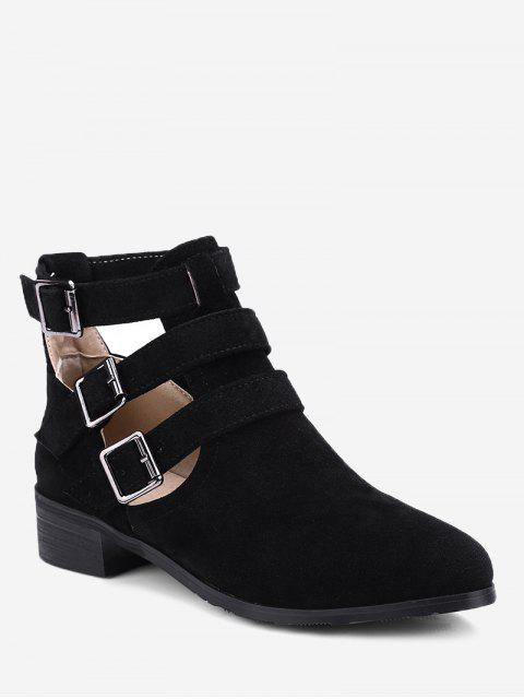 fancy Ankle Hollow Out Buckle Strap Boots - BLACK 38 Mobile