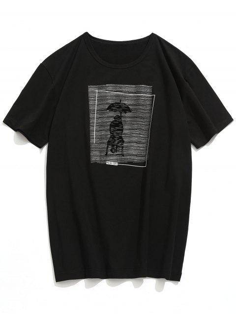 sale Rainy Day Print Short Sleeve T-shirt - BLACK M Mobile