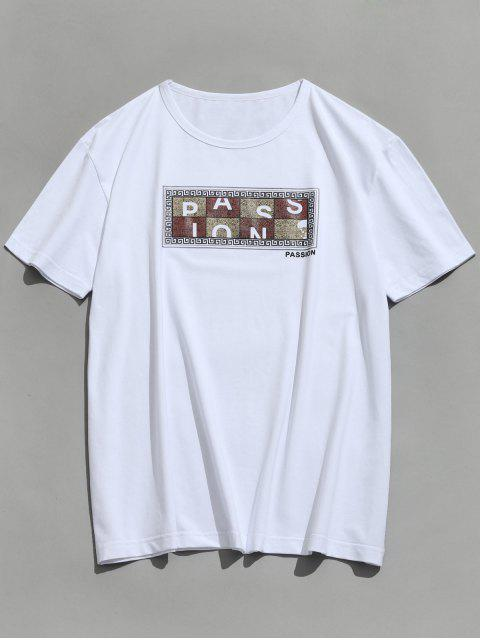 buy Short Sleeve Graphic Passion Print T-shirt - WHITE XL Mobile