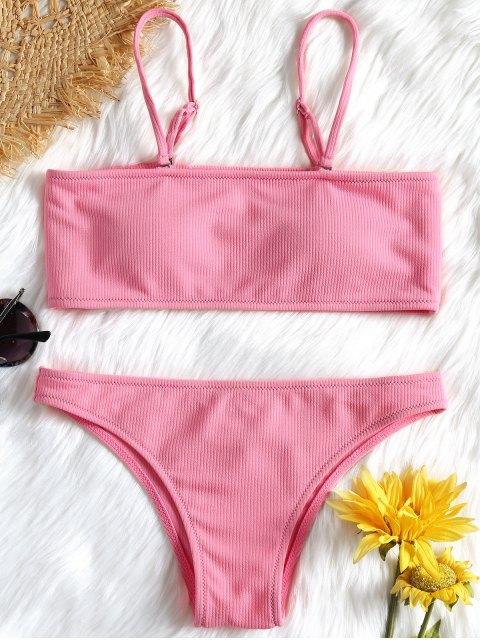 chic Ribbed Texture Bandeau Bikini Set - PINK S Mobile