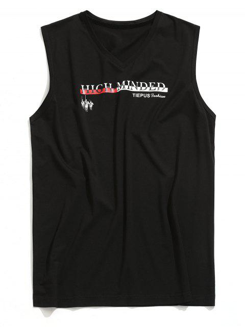 unique V Neck Graphic Sleeveless T-shirt - BLACK L Mobile