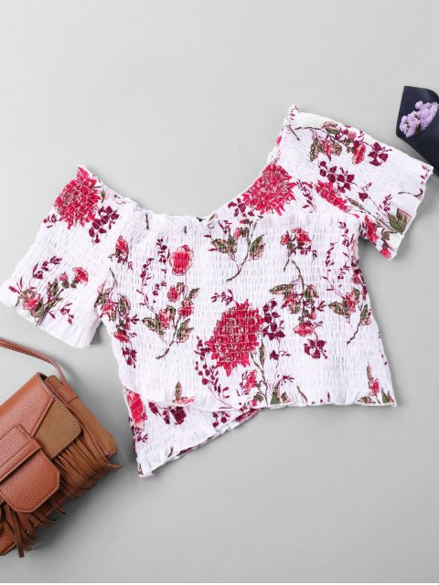 unique Off The Shoulder Floral Elastic Crop Blouse - COLORMIX XL Mobile