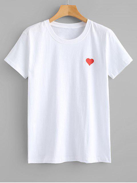 Camiseta con gráfico de corazón rojo - Blanco S Mobile