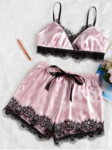outfit Eyelash Lace Satin Cami Shorts Pajama Set - PINK L Mobile