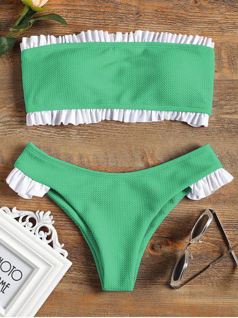 Rüschen Bandeau Bikini Set - GREEN L Mobile