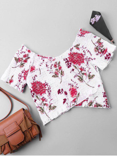 Blouse Courte élastique Florale à épaules Dénudées - Multicolore XL Mobile